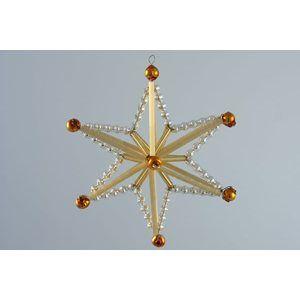 Sada na výrobu ozdoby z perliček - Magická hvězda - zlatá/topaz/zlatá