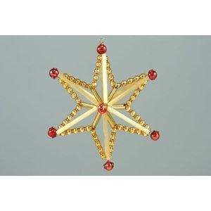 Sada na výrobu ozdoby z perliček - Magická hvězda - zlatá/topaz/červená