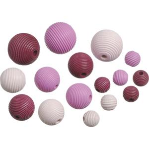 Dřevěné korálky, mix - růžová (20 ks)