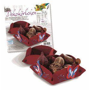 Filcové košíčky - 2 ks - tmavě červené