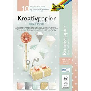 Folia Kreativní papír s puntíky z veluru - mix 10 listů