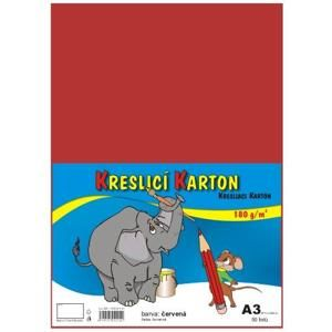 Kreslicí karton barevný A3 - 180g - 50 ks - červený