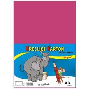 Kreslicí karton barevný A3 - 180g - 50 ks - růžový