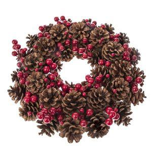 Dekorativní vánoční věnec s šiškami a cesmínou