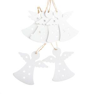 Závěsné dřevěné vánoční ozdoby 6 ks - anděl bílý