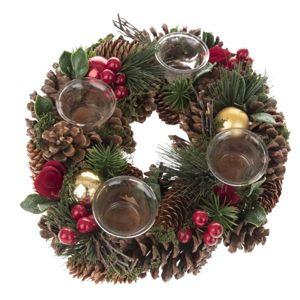 Vánoční adventní věnec - přírodní s šiškami