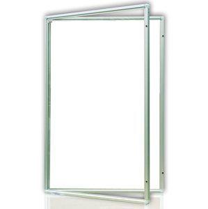 Vitrína interiérová 90x60 cm, vertikální otevírání uzamykatelné, bílý magnetický povrch