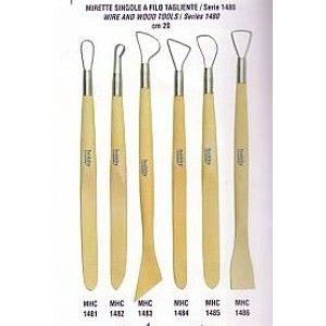 Sada nástrojů - dokončovací očka s drátkem a dřevěné špachtle (6 kusů, výška 20 cm)