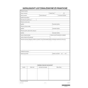 Katalogový list žáka pro ZŠ praktickou