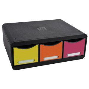 Zásuvkový box nízký, plastový, 3 přihrádky