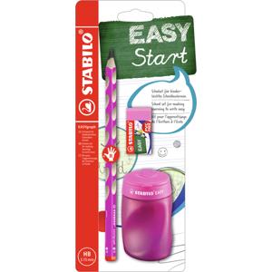 STABILO EASYgraph školní set P pro praváky - tužka HB, ořezávátko, pryž - růžová