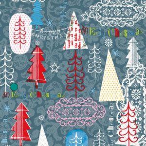 Vánoční ubrousky 33 x 33 cm, 20 ks - Zábavná grafika (stromky)