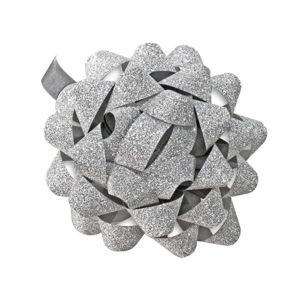 Dárková mašlička 8 cm - třpytivá stříbrná
