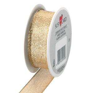 Textilní stuha 2 m × 25 mm s drátkem - zlatá