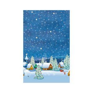 Vánoční ubrus 80 x 80 cm, papírový - Zimní vesnice