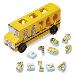 Dřevěný autobus s vkládacími čísly