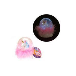 Sněhová koule/ těžítko jednorožec světle růžový s peříčky 16cm, na baterie svítící