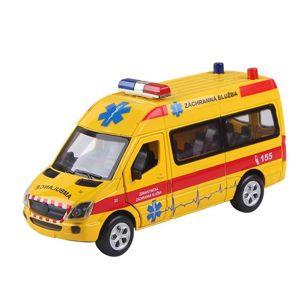 Auto ambulance kov/ plast 15cm na zpětné natažení a baterie se zvukem a světlem