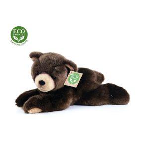 Plyšový medvěd tmavě hnědý ležící, 15 cm