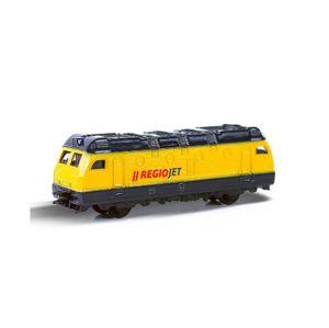 Lokomotiva/ Vlak RegioJet 9cm kov/ plast, na volný chod