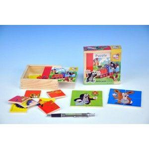 Skládačka Puzzle pro nejmenší Krtek dřevo 16 ks v dřevěné krabičce od 10 měsíců