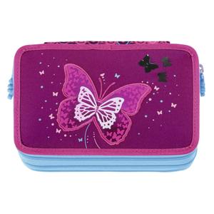 Školní penál Hama Stepy by Step vybavený blikací - Třpytivý motýl