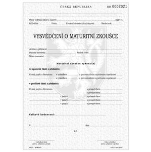 Vysvědčení o maturitní zkoušce v českém jazyce a cizím jazyce v dvojjazyčných gymnázií, tisk QR kódu