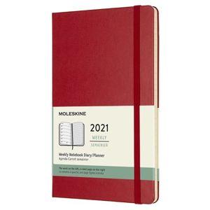 Moleskine Zápisník plánovací 2021 červený L, tvrdý - neuveden
